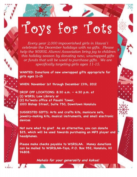 Please Help The Wsrsl Alumni Association Bring Joy To Children This Holiday Season By Donating New Unwrapped Gifts